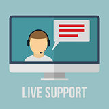 Technical support concept with human icon and monitor. Flat design vector illustration.