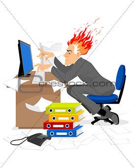 Clerk burning at work