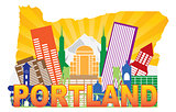 Portland Oregon Skyline in State Map Outline