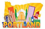 Portland Oregon Skyline in State Map Outline