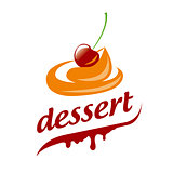Abstract vector logo cream and cherry