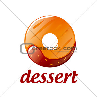 Abstract vector logo round donut with chocolate
