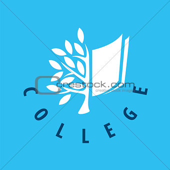 Abstract vector logo tree and the book