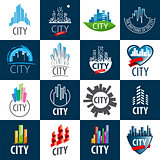 large set of vector logos city