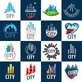 large set of vector logos city