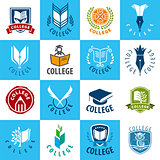 large set of vector logos College