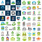 large set of vector logos homes and cities