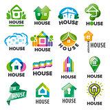 large set of vector logos homes