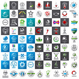 large set of vector logos new technologies