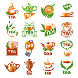 large set of vector logos tea