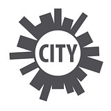 Round vector logo city of the planet