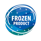 Round vector logo for frozen foods with snowflakes