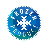 Round vector logo with snowflake for the frozen products