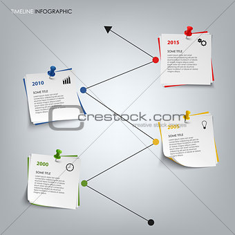 Time line info graphic with colored note paper template