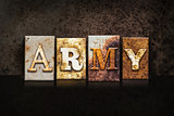 Army Letterpress Concept on Dark Background
