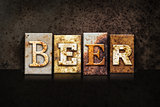 Beer Letterpress Concept on Dark Background
