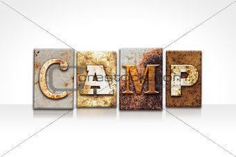 Camp Letterpress Concept Isolated on White