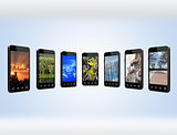 Modern mobile phones with different images
