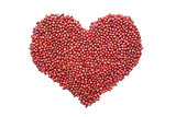 Red adzuki beans in a heart shape
