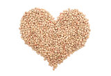 Green lentils in a heart shape
