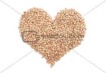 Green lentils in a heart shape