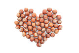 Hazelnuts in a heart shape