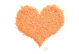 Red lentils in a heart shape