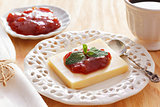 Brazilian dessert Romeo and Juliet, goiabada jam, cheese