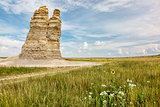 Castle Rock in Kansas prairie