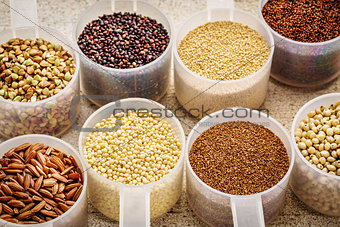gluten free grains in plastic scoops