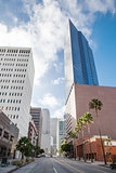 Skyscrapers against blue sky in downtown of Los Angeles, California USA