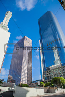 Skyscrapers against blue sky in downtown of Loa Angeles, California USA