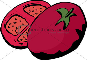 Sliced Tomato Cartoon