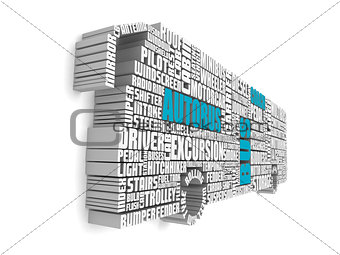 3d group of blue white words shaping a passenger bus