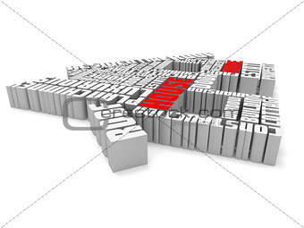 3d group of red white words shaping a house