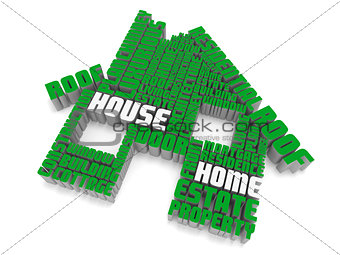 3d group of  green white words shaping a house