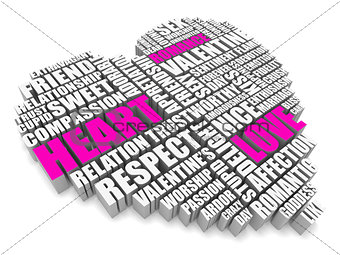 3d group of words shaping a heart with pink white text