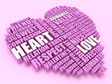 3d group of words shaping a heart with pink background