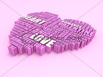 3d group of words shaping a heart on pink background