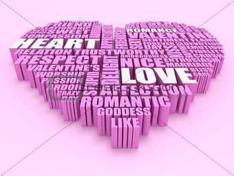 3d group of words shaping a heart with pink background aerial vi