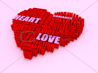 3d group of words shaping a heart with pink red text