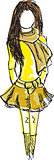 Drawn colored young girl in yellow clothes