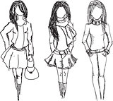 Drawn fashion girls