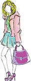 Drawn colored young girl with bag