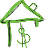 Drawn colored green house with dollar sign