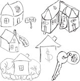 Drawn houses with key