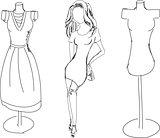 Drawn fashion girl with dress form