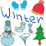 Drawn colored snowman with word winter
