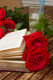 old book with roses