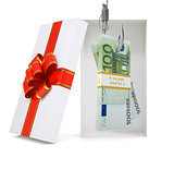 Euro in gift box on white